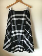 Laura Ashley Size 12 Black Grey Check Lined Skirt Polyester  T6771
