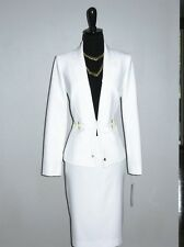 NEW $$$ TAHARI 2PC SKIRT SUIT 10 IVORY WHITE GOLD DETAILS STYLISH SEXY CHIC!
