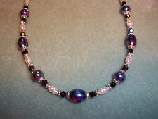 Hand Crafted 18 inch MULTI COLOR Glass Bead, Pearl BLACK Swarovski NECKLACE G-23