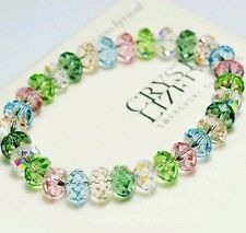 Sparkling Pink Blue Green Crystal Faceted Beads Stretched Bangle Bracelet UK