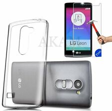LG Leon 4G LTE H340N Soft Crystal Clear Gel Case With Free Real Tempered Glass