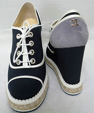 Chanel CC Canvas Lace up Espadrille Wedge shoes New