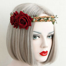 Elastic Headband Wedding Red Rose Flower Crown Vine Love Hair Garland Jewelry