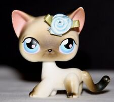 �Littlest Pet Shop Siamese Shorthair Cat #5 White And Gray W/Blue Eyes~Usa Sell