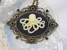 NAUTICAL HALLOWEEN SILVER STEAMPUNK Necklace OCTOPUS SQUID KRAKEN CTHULHU Cameo