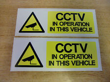 """x2  """"CCTV IN OPERATION IN THIS VEHICLE"""" Decals - 150mm x 50mm security stickers"""
