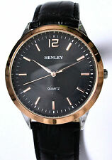 Henley Mens Classic Black Watch with Rose Gold Tone Rim & Genuine Leather Strap