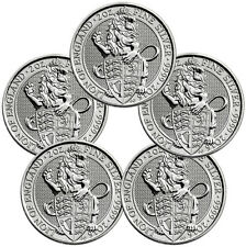 2016 Great Britain 5 Pound 2 Oz Silver Queen's Beast Lion - Lot of 5 SKU41712