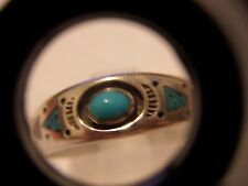 VINTAGE STERLING TURQUOISE CORAL INLAY RING SIZE 11 1/2 DOG HEAD//COYOTE ? STAMP