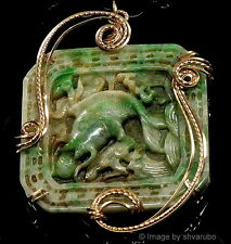 VTG CHINESE FINE CARVED JADEITE JADE KOI FISH & DRAGON HUGE PENDANT NECKLACE