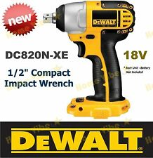 """NEW GENUINE DEWALT 18V COMPACT IMPACT WRENCH 1/2"""" DC820N-XE BARE UNIT Cordless"""