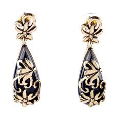 New Filigree Drop Earrings Black Resin Teardrops Brand Designer Lady Jewelry
