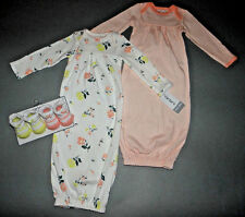 Baby girl clothes, 0-3 months Carter's 2 floral gowns, 2 matching booties