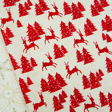 25th and Pine Reindeer Peppermint Red Fabric from Moda / Christmas yuletide