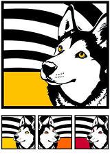 Siberian Husky No.1 - Pop Art Poster retro design Hunde Porträts Portrait Fotos