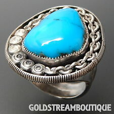 WILLIAM ESTEVAN ACOMA PUEBLO 925 SILVER GORGEOUS BISBEE TURQUOISE STATEMENT RING