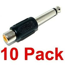 "10 pack RCA female to 1/4"" male mono audio adapters NEW"