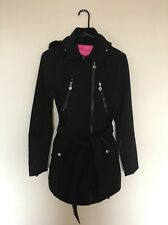 BETSEY Johnson Fit Flare RainCoat Windbreaker Thin Trench Outerwear Black Pink L