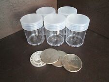 (5) Round Clear Plastic (Half Dollar) Size Coin Storage Tube Holders w/Screw Lid