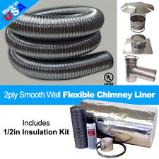 """Flexible Smooth Wall - Chimney Liner 6"""" x 25' Tee Kit & Insulation Kit- 1/4in"""