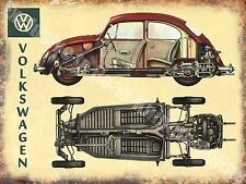 Vintage Garage 101 Classic Car Beetle Cut-Away Old Advert, Medium Metal/Tin Sign