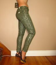 Seven 7 For All Mankind $225 Skinny Army Green Jeans Gold Metal Lace Foil 26