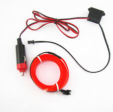 Red 3M 12V Neon LED Light Glow EL Wire String Strip Rope Tube Car Interior Decor