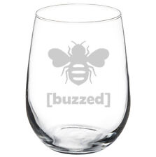 Stemless Wine Glass Goblet 17oz Funny Buzzed Bee