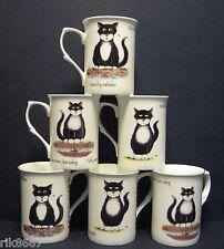 Set Of 6 MOGGIE OR CAT Fine Bone China Mugs Cups Beakers (print b)