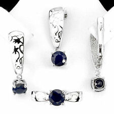 CHARMING NATURAL 6mm TOP DEEP BLUE SAPPHIRE STERLING 925 SILVER WHITE ENAMEL SET