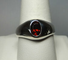 Brand New Sterling Silver Genuine Oval 7mm x 5mm Garnet Man's Ring