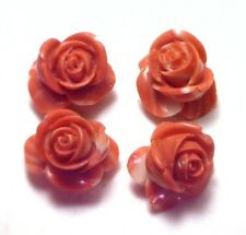 NOS Antique Vintage Carved Coral  ROSE Flower Drilled Stone Undyed 1/order OK113