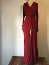 Slinky GUCCI Red Gown with Fringe Hardware Detail Self-Tie Belt Size 38