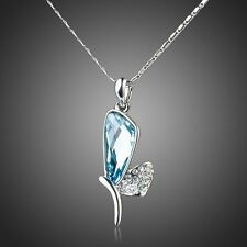 18K PLATINUM BLUE CRYSTAL BUTTERFLY WING ZIRCON CRYSTAL  NECKLACE   #N15