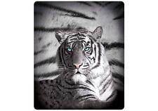 Blue Eyes Stripes White Tiger Polar Fleece Throw Rug Blanket