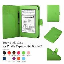 "GREEN Wallet Book Stile Custodia in pelle per Amazon Kindle Paperwhite 6 ""pollici"