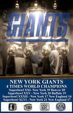 NEW YORK GIANTS 4X FOUR TIME SUPERBOWL CHAMPS POSTER 11X17 ODELL BECKHAM JR