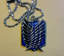 Attack on Titan metal Survey Recon Corps Wings pendant/necklace blue