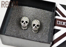 Butler & Wilson Skull Crystal Stud Earrings Silver with box