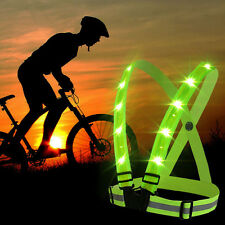 Adjustable Visibility Reflective LED Vest Gear Stripes for Outdoor Night Safety