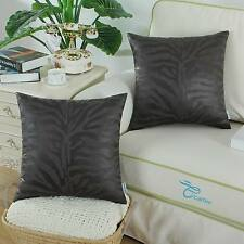 "2Pcs CaliTime Grey Zebra Strips Suede Reversible Throw Pillow Covers Home18""X18"""