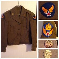 US 6th Army Air Force Ike Jacket Officer Tunic WWII W/ Patches Pins AAF AAC 34R