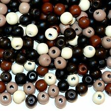 Multi-Color Eathtone Brown 10mm Round Rondelle Wood Beads 400-Grams WXXL147f