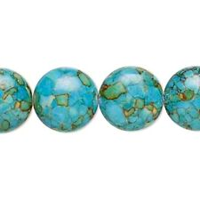 Blue Mosaic Turquoise Large 14mm Puffy Coin Beads 6pc
