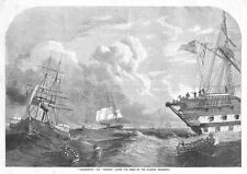 Ships Agamemnon & Niagara laying the Atlantic Telegraph Cable Antique Print 1858