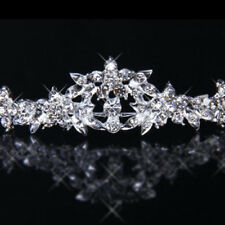 Fashion Rhinestone Crystal Flower Bridal Crown Headband Veil Tiara Wedding Prom