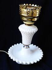 VTG Milk Glass Hobnail Hurricane Table Desk small  Lamp
