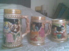 3 Tankards Ceramic Beer Mug Decorated with Characters Guernsey 12cm 14cm 18cm