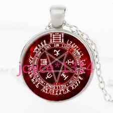 Pentagram Wiccan Cabochon Tibetan silver Glass Chain Pendant Necklace #2402