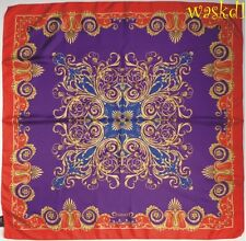 VERSACE purple & royal with Red BAROQUE Border silk Large scarf NEW Authentic!